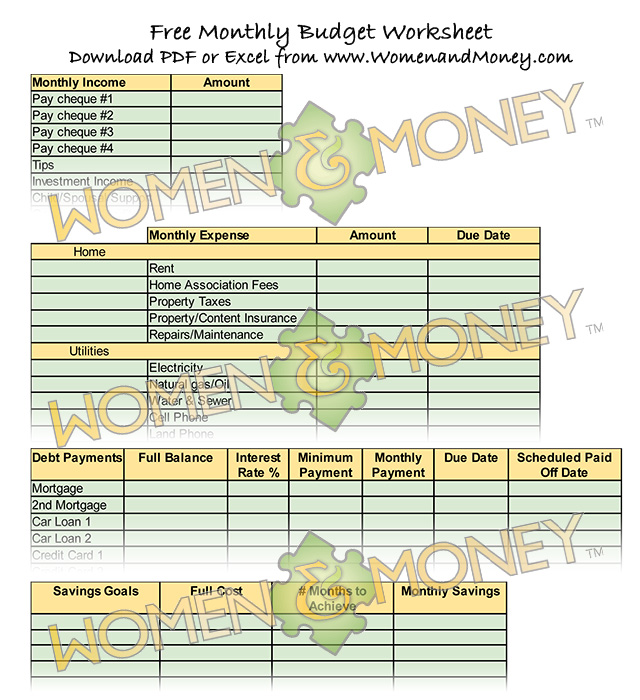 Free Budget Worksheet from WomenandMoney.com